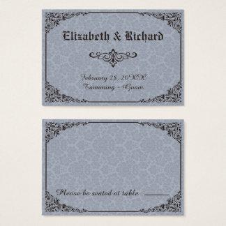 Cartes victoriennes gothiques bleues d'endroit de