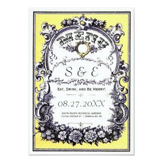 Cartes vintages de menu de mariage de jardin carton d'invitation  12,7 cm x 17,78 cm