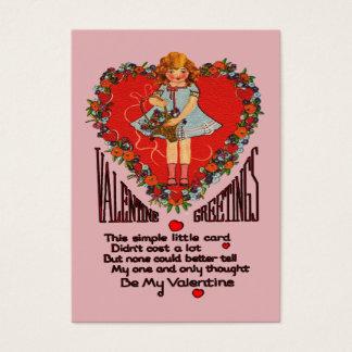 Cartes De Visite Cartes vintages d'enfants de guirlande et de fille
