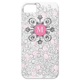 Cas d'amusement de rose d'initiale de monogramme coques iPhone 5 Case-Mate