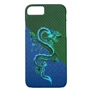 Cas de l'iPhone 7 de dragon bleu et vert Coque iPhone 7
