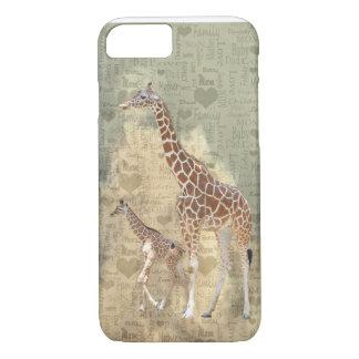 Cas de l'iPhone 7 de girafe de maman et de famille Coque iPhone 8/7