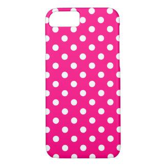 Cas de l'iPhone 7 de point de polka de roses Coque iPhone 7