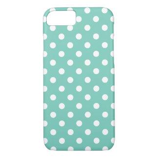 Cas de l'iPhone 7 de point de polka de turquoise Coque iPhone 7