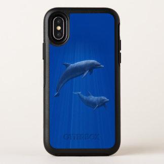 Cas de l'iPhone X d'OtterBox de couples de dauphin