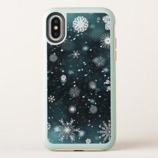 Cas élégant de l'iPhone X des flocons de neige  