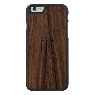 Cas en bois décoré d'un monogramme coque en noyer iPhone 6 case