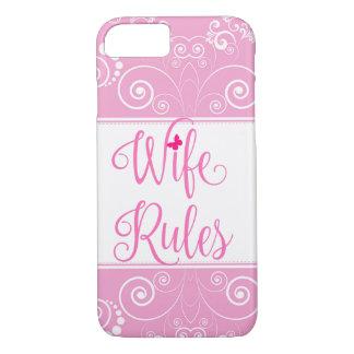Cas floral rose de règles d'épouse de motif coque iPhone 7