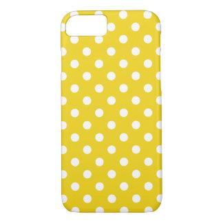 Cas jaune citron de l'iPhone 7 de point de polka Coque iPhone 7