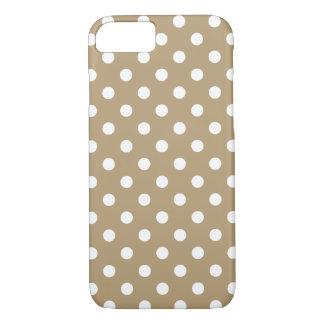 Cas kaki de l'iPhone 7 de point de polka Coque iPhone 7