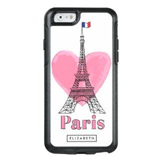 Cas rose frais d'OtterBox 6 de Tour Eiffel d'amour Coque OtterBox iPhone 6/6s