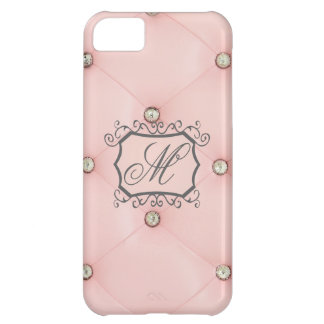 Cas tufté rose du monogramme IPHONE 5C de Bling de Coque iPhone 5C