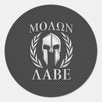 Casque spartiate de chrome de Molon Labe sur la Sticker Rond