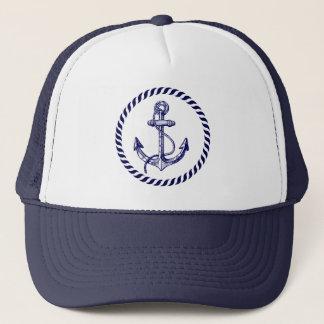 Casquette Ancre nautique de bleu marine et blanche mignonne