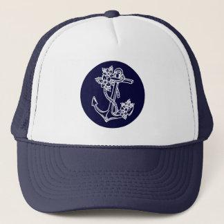 Casquette Ancre nautique florale de bateau de blanc et de