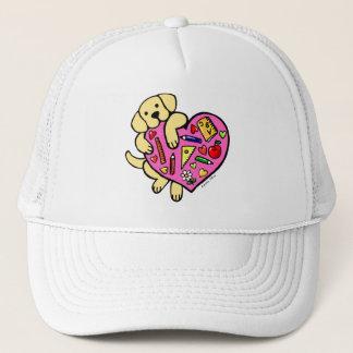 Casquette Bande dessinée jaune de coeur de Labrador et de