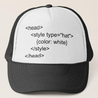 Casquette blanc de programmeurs de HTML