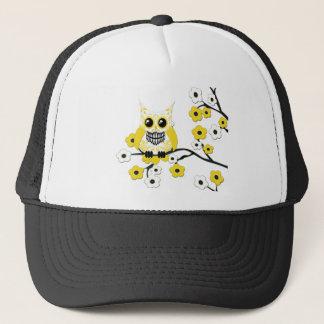 Casquette blanc jaune de hibou de fleurs de