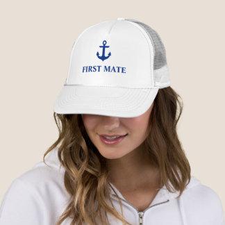 Casquette Blanc nautique d'ancre de premier compagnon