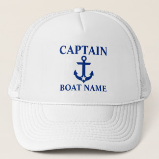 Casquette Blanc nautique de capitaine Boat Name Anchor Star