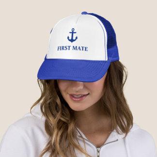 Casquette Bleu nautique d'ancre de premier compagnon