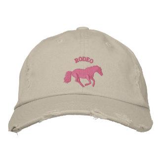 Casquette Brodée Équitation rose de rodéo de filles