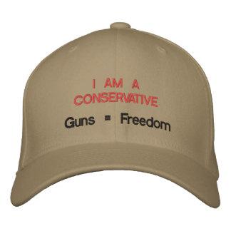 Casquette Brodée Je suis un conservateur : Armes à feu = liberté