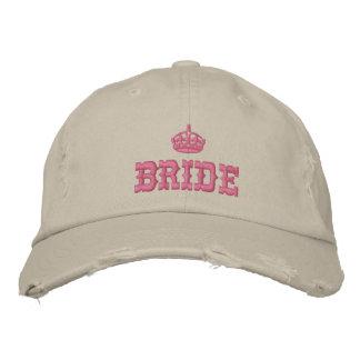 Casquette Brodée Jeune mariée rose avec la couronne