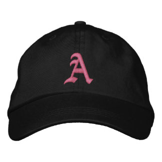 Casquette Brodée Monogramme rose A