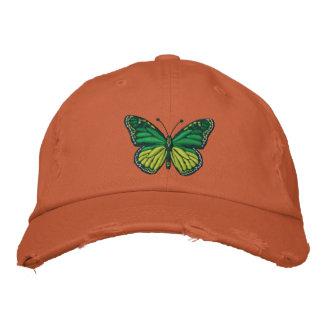 Casquette Brodée Papillon de monarque vert de bruit