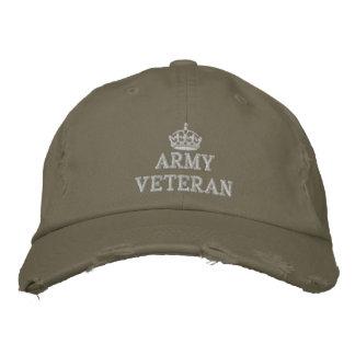 Casquette Brodée Vétéran d'armée avec le logo de couronne