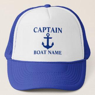 Casquette Capitaine nautique Boat Name Anchor Blue