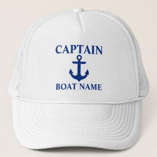 Casquette Capitaine nautique Boat Name Anchor White