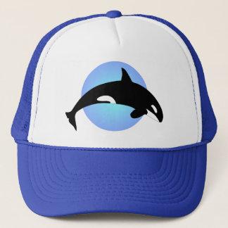 Casquette Cercle de bleu de silhouette d'épaulard d'orque