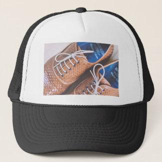 Casquette Chaussures en cuir de Brown de peau de serpent