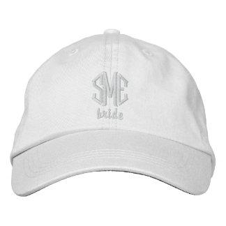 Casquette de baseball blanche de monogramme de