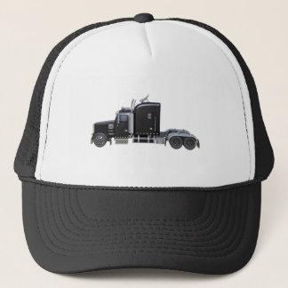 Casquette De noir camion semi avec de pleines lumières dans