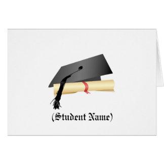 Casquette d'obtention du diplôme et diplôme, carte de vœux