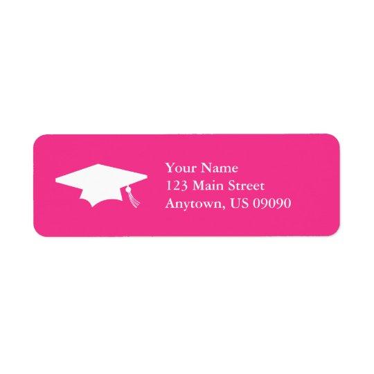 Casquette d'obtention du diplôme (rose foncé) étiquette d'adresse retour