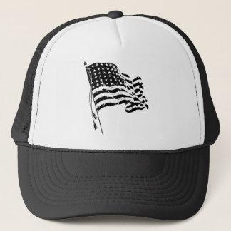 Casquette Drapeau américain, bannière étoilée dans noir et