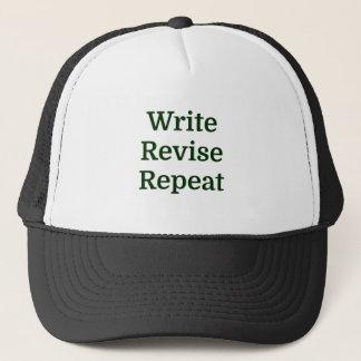 Casquette Écrivez la répétition d'épreuve de révision