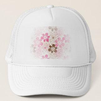 Casquette Fleurs abstraites brunes et roses mignonnes de