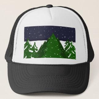Casquette Forêt d'arbres une nuit d'hiver