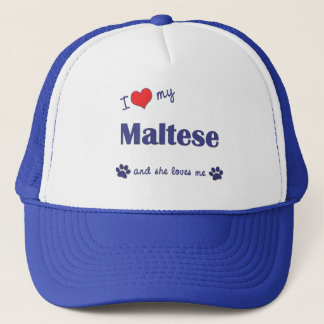 Casquette J'aime mon maltais (le chien femelle)