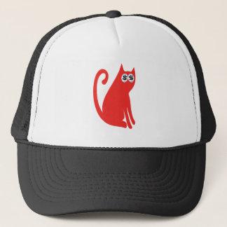 Casquette Le chat reposent et regardent les yeux rouges