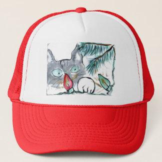 Casquette Le chaton gris observe des lumières d'arbre de