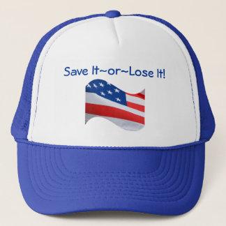 Casquette Le drapeau, Amérique, le sauvent ou le perdent !