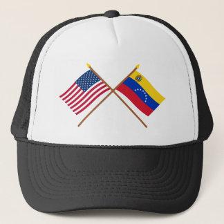 Casquette Les USA et drapeaux croisés par Venezuela