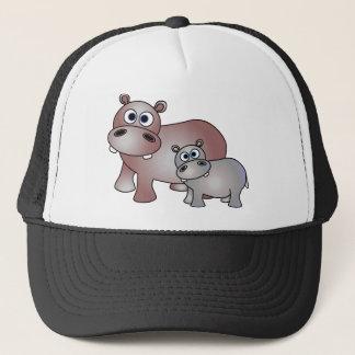Casquette Maman mignonne d'hippopotames et