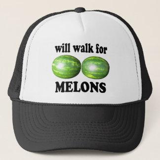 Casquette marchera pour des melons sur le blanc